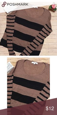 🔥Flash Sale🔥 Ann Taylor Loft Striped Sweater IN EXCELLENT USED CONDITION  This thin knit sweater is absolutely beautiful 😍  Would go great with some black straight jeans and boots  Material is 65% Ramie/35% Rayon Ann Taylor Sweaters Crew & Scoop Necks