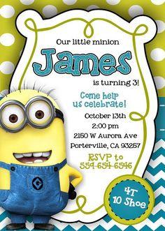 Minion Invitation Minion Party Invitation Minion Birthday