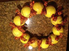Softball wreath- Shelton Colors!