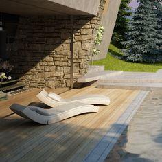 House & garden on a steep terrain on Behance Outdoor Furniture, Outdoor Decor, Organic Gardening, Sun Lounger, Lawn, Concrete, Home And Garden, Modern, Behance