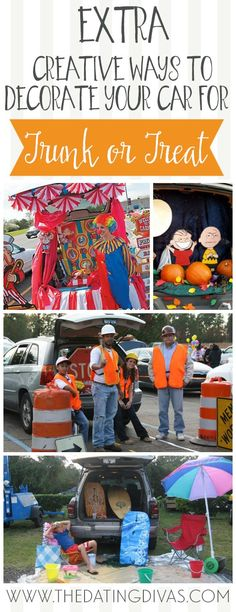 Impress everyone at the Halloween parking lot party with this list of Trunk or Treat Ideas! Let us inspire your Halloween car decorations! Fashion Kids, Fashion Art, Holidays Halloween, Halloween Treats, Halloween Party, Halloween Games, Halloween Costumes, Trunk Or Treat, Halloween Car Decorations