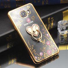 Diamond Crystal TPU Soft Ring Holder Phone Case for Samsung Galaxy C5 C7 C9 Pro J2 J3 J5 J7 Prime On5 On7 2016 Phone Back Cover
