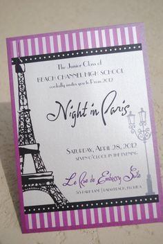 Night in Paris INVITATION parisian french by designstoimpress