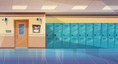 Empty School Corridor Interior With Row Of Lockers Horizontal Banner Flat Vector Illustration Illustration , Scenery Background, Living Room Background, Cartoon Background, Video Background, Animation Background, Episode Interactive Backgrounds, Episode Backgrounds, Anime Backgrounds Wallpapers, Anime Scenery Wallpaper