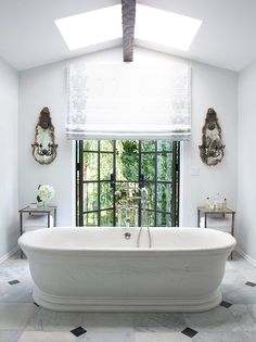 White bathroom with square and diamond tile