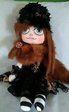 Handmade, Cloth Rag Doll, Steampunk, OOAK, Collectable by Bianca