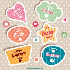Vintage Easter Stickers Vector
