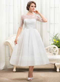 A-Line/Princess Scoop Neck Tea-Length Bow(s) Zipper Up Sleeves 1/2 Sleeves Beach Hall Reception General Plus No Spring Summer Fall Ivory Tulle Lace Wedding Dress
