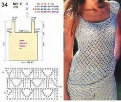 Todo A Crochet Crochet Dresses Crochet Clothes Crochet Stitches Crochet Patterns Crochet Projects Dress Skirt Robes How To Make Crafts T-shirt Au Crochet, Pull Crochet, Gilet Crochet, Mode Crochet, Crochet Shirt, Crochet Diagram, Crochet Woman, Crochet Cardigan, Irish Crochet