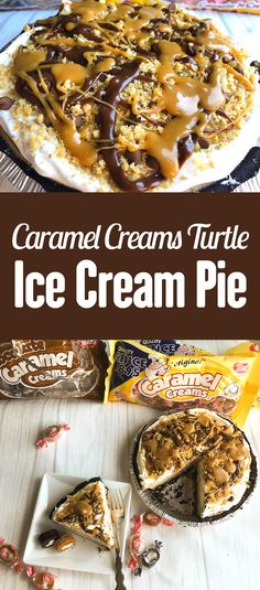 Celebrate Pi Day (π) on March with this amazing pie made from Caramel Creams®! This delicious Caramel Creams Turtle Ice Cream Pie is made with Vanilla & Chocolate Caramel Creams, chocolate chips, pecans, and no churn caramel ice cream. Get the recipe! Ice Cream Pies, Ice Cream Treats, Ice Cream Desserts, Frozen Desserts, Frozen Treats, Pie Dessert, Dessert Recipes, Candy Recipes, Sweet Recipes