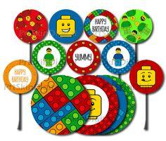 Lego Cake Topper Lego Cupcake Topper Happy by PrtSkinDigital Lego Birthday Party, 4th Birthday Parties, Happy Birthday, Lego Cake Topper, Cupcake Toppers, Lego Cupcakes, Lego Wall, Lego Christmas, Disney Tangled