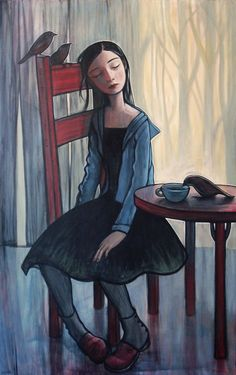 Kelly Vivanco Artist  I wonder what the birds represent.    Perhaps when we are in despair our guardian angels hover above us waiting for us to ask for help.