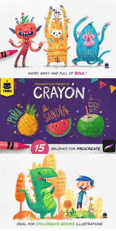 Crayon - Procreate Brush Pack By Frankentoon Store, Bold, full of character and fun Brushes. These brushes are great for Editorial illustrations for children and Vintage style drawings Digital Painting Tutorials, Digital Art Tutorial, Children's Book Illustration, Character Illustration, Illustration For Children, Create Drawing, Ipad Art, Childrens Books, Fanart
