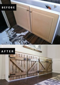 How to upcycle trash into treasure! See how a thrown out cabinet is transformed into an upcycled barnwood style sideboard. http://upcycledtreasures.com