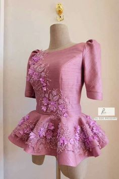 Myanmar Traditional Dress, Thai Traditional Dress, Traditional Outfits, Latest African Fashion Dresses, African Print Fashion, Lace Skirt And Blouse, Filipiniana Dress, African Lace Styles, African Blouses