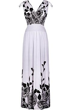 2LUV Womens Shoulder Ties Floral Summer Holiday Resort Maxi Dress White Floral M -- Read more reviews of the product by visiting the link on the image.