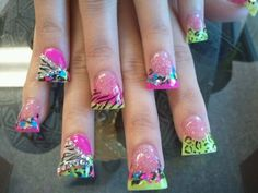 Duck Tips love the intense designs not sure about the shape tho Great Nails, Fabulous Nails, Duck Nails, Animal Nail Designs, Hair And Nails, My Nails, Flare Nails, Zebra Print Nails, Fancy Nails