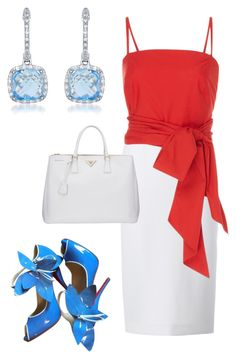 """Mother's Day"" by kmags4 ❤ liked on Polyvore featuring Roland Mouret, MDS Stripes, Christian Louboutin, Prada and Diana M. Jewels"