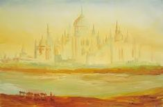 Agra, Taj Mahal, World, Wallpaper, Painting, Indian, Oil On Canvas, Expressionism, Landscape Paintings