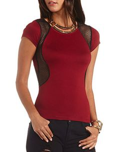Fishnet Cut-Out Short Sleeve Top: Charlotte Russe