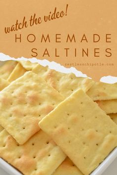 Homemade saltine cracker recipe also called soda crackers is quick and easy tastes better than ANY store bought crackers ever and best of all are very inexpensive to make. Saltine Cracker Recipes, Saltine Crackers, Savory Cracker Recipe, Homemade Soup, Snacks Homemade, Homemade Recipe, Recipe For Homemade Crackers, Healthy Crackers, Healthy Snacks