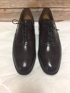 a2d0b5944 Johnston Murphy Shoes Mens 10.5 D Oxford Brogue Wing Tip Cordovan Leather