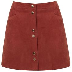 Miss Selfridge Faux Suede Button-Front Skirt ($25) ❤ liked on Polyvore featuring skirts, bottoms, rust, pencil skirt, miss selfridge, button front skirt, faux suede skirt and red knee length pencil skirt