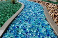 Recycled landscape glass - tons of great colors. Recycled landscape glass - to Blue Garden, Dream Garden, Garden Art, Garden Design, Outdoor Art, Outdoor Gardens, Outdoor Decor, Outdoor Living, Outdoor Spaces