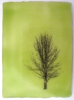 Beeswax Encaustic Painting of Tree Collaged in Green