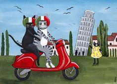 La peinture Folk Art penchant tour de Pise originale CAT