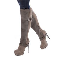 Charming Assorted Color Buckle Knee High Stiletto Boots