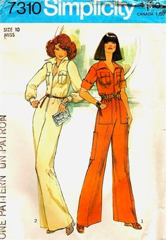 70s Jumpsuit Pattern Front Zippered Coveralls by stumbleupon, $5.50