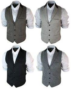 Mens Vintage Tweed Waistcoat Herringbone Brown Cream Black Grey Slim Fit