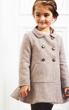 Wool coat - Marie Chantal UK (love the flounce and brass buttons)