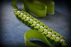 Ribbon Bracelet- Granny Smith Millie Ruffles and Pearls Ribbon Bracelet