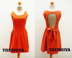 Party Dress Tangerine Open Back Dress with Bow