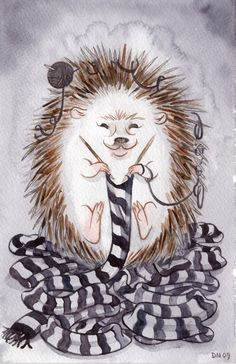 Illustration: Animals for Animals: Knitting Hedgehog // Dylan Meconis Knitting Humor, Knitting Projects, Knitting Patterns, Book Art, Art Du Fil, Knit Art, Dibujos Cute, Yarn Bombing, Jolie Photo