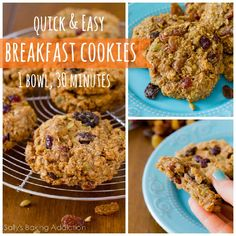 Quick & easy Breakfast Cookies.  Dump all of the healthy ingredients into a bowl and mix!  They are ready within 30 minutes. Grab them and g...