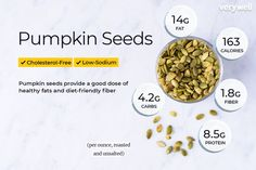Pumpkin seeds are a nutritionally-balanced snack with healthy fats, fiber, and protein. Just 1 ounce of pumpkin seeds provides of your daily zinc. Pumpkin Nutrition Facts, Vegan Nutrition, Holistic Nutrition, Healthy Fats, Healthy Snacks, Healthy Eating, Chia Seeds Protein, Pumpkin Seeds Benefits, Low Calorie Vegetables