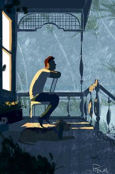 Let me say something about dogs, they love you whether you're happy or sad.  They never pretend they're listening to you.  And they can't stand seeing you crying. They're the real friends we all look for.  Art by: Pascal Campion art.