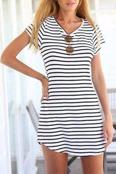 Cupshe Stylish Striped Short Sleeve Dress