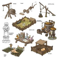 Medieval village equipment needed for maintence and building Fantasy Concept Art, Game Concept Art, Fantasy Map, Medieval Fantasy, Fantasy World, Fantasy City, Prop Design, Game Design, Casa Viking