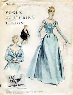 ITEM DESCRIPTION: ✦ Circa: 1954 ✦ Details: EVENING DRESS GOWN and REVERSIBLE CAPE By Vogue ✦ Size/Measurements: 14 Bust: 32 Waist: 26 1/2 Hips: 35 (Inches) ~ Condition: Brand New Reproduced Copy. All pieces present and correct, with full instructions. ~ Any questions please do not