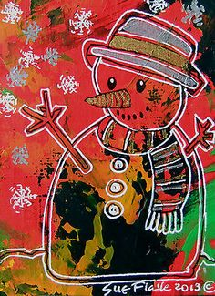 ACEO 2013 Original Acrylic Painting Christmas Artwork - Snowman by Sue Flask