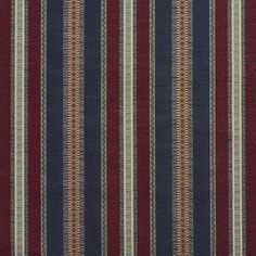 Navy Stripe Burgundy and Green Country Tapestry Drapery and Upholstery Fabric Burgundy or Red or Rust and Dark Blue and Dark Green color Country or Lodge or Cabin and Stripe pattern Tapestry type Upholstery Fabric called NAVY STRIPE by KOVI Fabrics
