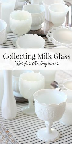 Collecting Milk Glass Beginner Tips Reader Q & A is part of Milk glass decor - Thinking about collecting milk glass or just getting started Learn a few milk glass basics you can put to the test on your next visit to the thrift shop! Antique Dishes, Antique Glassware, Vintage Dishes, Fenton Glassware, Vintage Pyrex, Vintage Cake Plates, Vintage Kitchenware, Antique Bottles, Vintage China