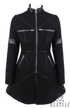 """""""GEOMETRY COAT"""" Czarny rozkloszowany płaszcz ocieplany, wełna, nowoczesna kurtka"""
