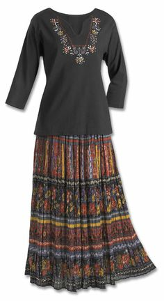 $59.00 Skirt--This ultra-feminine knit kurta Top is adorned with rich embroidery around the neckline. (100% Cotton). Jewel Crinkle Broomstick Skirt - A dazzling array of colorful jewel tones sets off this Crinkle Broomstick Skirt. (100% Cotton). Black Top & Crinkle Skirt Set - (S, M, L, XL, 1X, 2X, 3X).