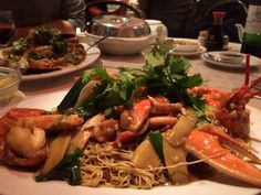 Lobster with ginger and spring onion served on a bed of noodles - Young's, Chinatown