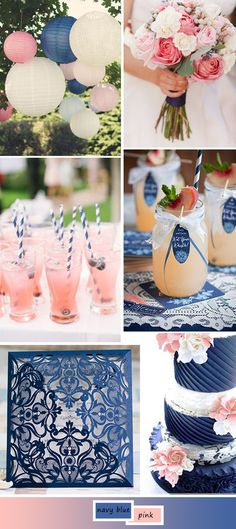 Gorgeous Navy Blue Wedding Party Deco Ideas - Home Page Pink Wedding Colors, Wedding Color Schemes, Wedding Flowers, Blue Party Decorations, Wedding Decorations, Wedding Ideias, Blush Wedding Cakes, Dream Wedding, Wedding Day